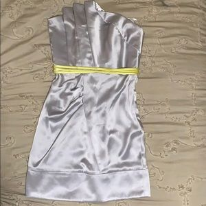 Silver ABS cocktail dress with fun yellow detail